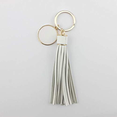 lotuwio Personalisierte Gold Leder Quaste Schlüsselanhänger Frauen Tasche Charm Monogramm Leere Schlüsselanhänger Emaille Schmuck Gold Weiß -