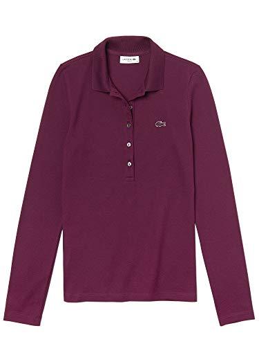Lacoste Damen Baumwoll-hemden (Lacoste Damen Polo Shirt Langarm PF7841,Frauen Polo-Hemd,5 Knopf,Slim Fit,Eggplant(FY5),42 EU)