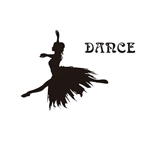 Daadi moderno semplice, bello e duraturo piastrella per pareti balletto ragazza ballerina soggiorno adesivo da parete musica aula moda adesivo danza studio sfondo decorazione da parete sticker, b nero