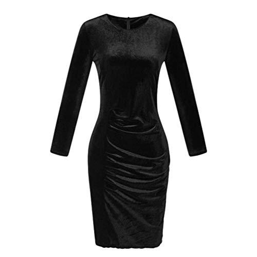 Qiusa 2017 Herbst Winter Frauen Kleid Frauen Samt Langarm Gefaltete Beiläufige Dünne Kleid Abend Sexy Party Mini Kleid (Farbe : Schwarz, Größe : ()