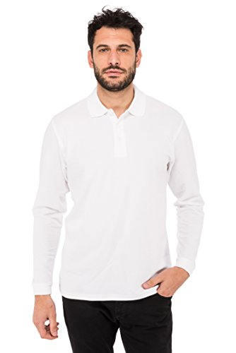 Fruit of the Loom Herren Poloshirt Premium Long Sleeve Polo Weiß (White 30)