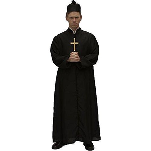 Übergröße Kostüm Priester - Spassprofi Priesterkutte mit Hut und Kreuz