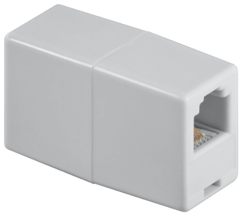 Wentronic Telefon Adapter (RJ11-Kupplung, RJ11 Buchse auf RJ11 Buchse) weiß (Telefon-buchsen)