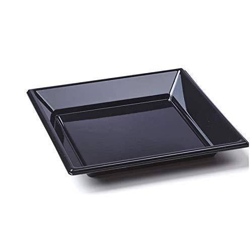 8 assiettes carrées plastique noir 23x23 cm
