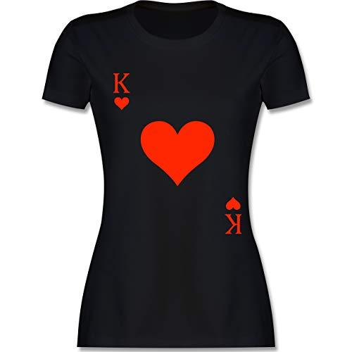 Karneval & Fasching - King Kartenspiel Karneval Kostüm - XXL - Schwarz - L191 - Damen T-Shirt Rundhals