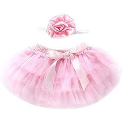 Xmiral 2Pcs Conjuntos de Falda Tutu con Bowknot con Turbante para Fotografía Regalo de Bautismo para Recien Nacido Bebes Niñas(Rosa,0-6 Meses)