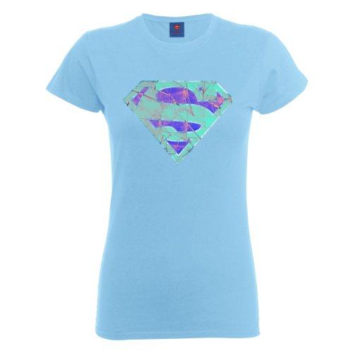 DC Universe Damen T-Shirt Dc Comics Official Superman Glass Logo Womens T-shirt Blau - Himmelblau