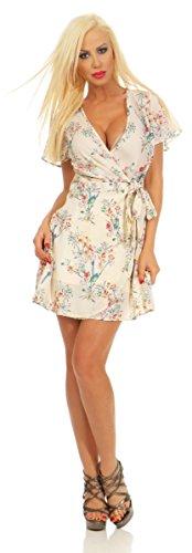 Fashion4Young 3990 Damen Mini Kleid Wickelkleid Sommer Kurzarm Blumen Minikleid Rückenfrei Dress (beige, S-34)