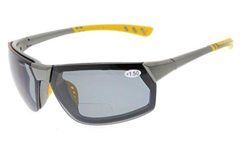 Gr8Sight Sun Leser Polarisierte Bifokale Lesen Sonnenbrille Getönte Gläser Herren Umlaufender Designer-stil Sport UV 400 Schutz Klare Rahmen Grau Objektiv +1.50