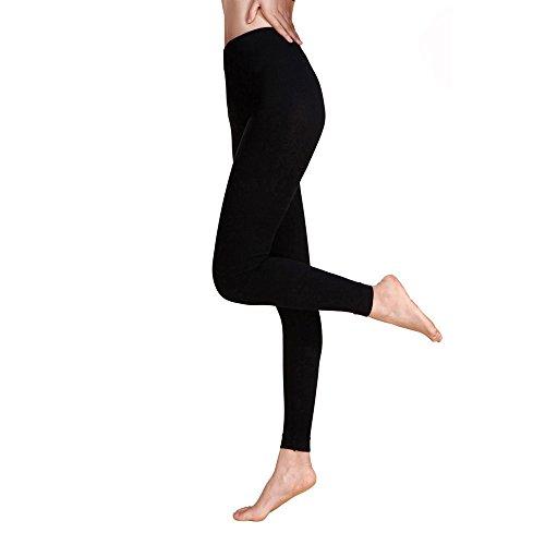 Topgrowth Pantalone Basico da Donna Leggings Sportivi Casual a Vita Alta Tinta Unita Pantaloni Magro Attivo Correre Pantalone da Yoga Nero