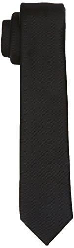 Burton Menswear London Herren Krawatten- & Fliegen-Set Plain Tie Schwarz (Black 130) Einheitsgröße Plain Black Tie