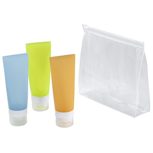 Hama Reise-Flaschen-Set, Silikon (3 x 85ml Tuben z.B. für Shampoo/Duschgel, 1 x wiederverschließbarer Klarsicht-Beutel, 6 x Etiketten zum Beschriften, Handgepäck Kosmetik-Set) bunt