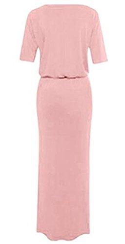 Monissy Femmes Robe Long Maxi Boho Robe de Soirée avec Poche Manches Courtes Rose