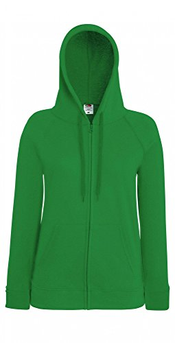 Fruit of the Loom Damen Kapuzenpullover Lightweight Hooded Sweat Jacket Lady-Fit Kelly Green