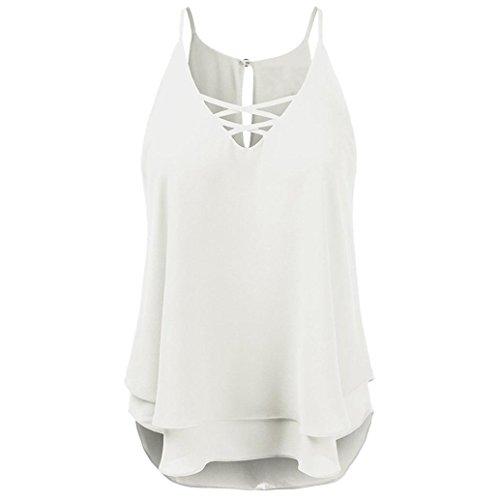 JUTOO Sommer Strand Kreuz Weste Top ärmellose Bluse Casual T-Shirt -