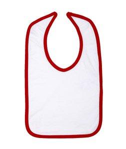 Infant Jersey Contrast Trim Velcro� Bib WHITE/ RED OS (Skins Rabbit Bib)