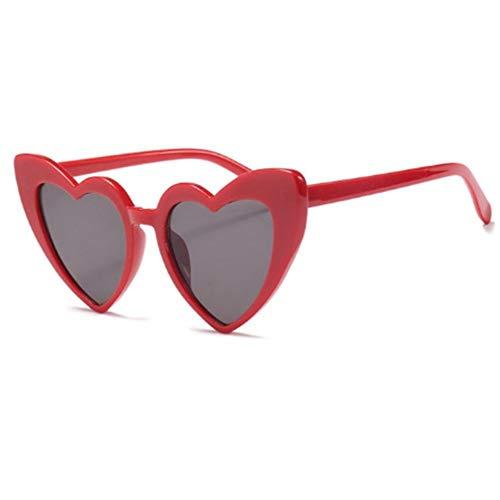 QDE Sonnenbrillen Metallscharnier Herz Frauen Sonnenbrille Glitter Rosa Brille Uv400, D