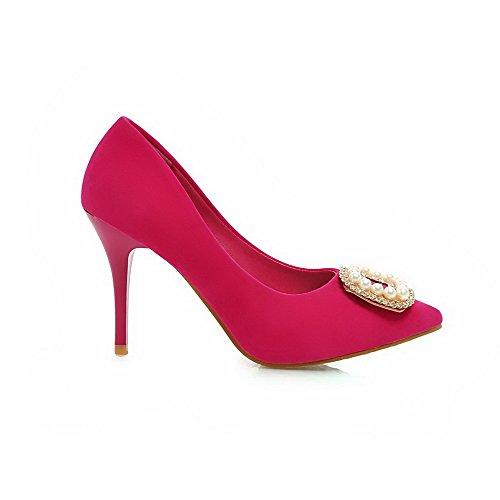 AllhqFashion Damen Nubukleder Hoher Absatz Spitz Zehe Eingelegt Ziehen Auf Pumps Schuhe Rosa