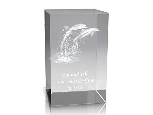 VIP-LASER 3D Glaskristall Quader XL mit Zwei Delfinen/Delphinen und Spruch Du und Ich Wie Zwei Delfine im Meer für die Ewigkeit in Glas graviert!