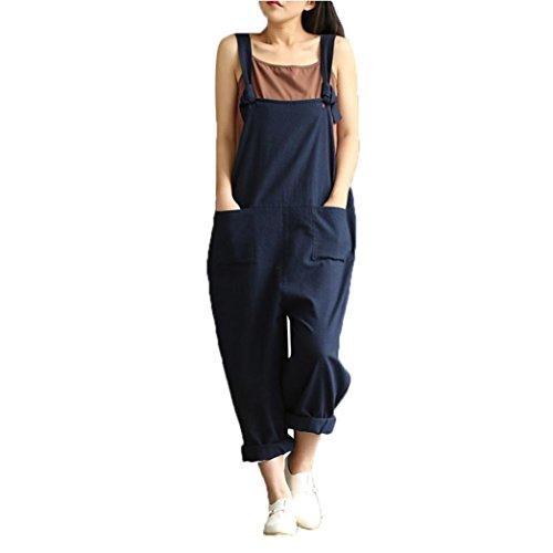 Rcool Dame Baumwoll Leinen Overalls Verstellbarer Gurtmuster Ärmelloser Overall mit Taschen (XXXL, Blau)