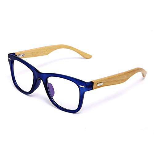YMTP Bambus Brillen Rahmen Für Frauen Designer Big Nieten Herren Bambus Gläser Optisch Blau Schwarz, Blau