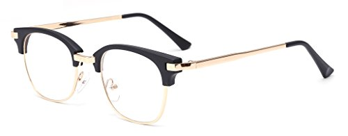 ALWAYSUV Brillenfassung Metal-Bügel Klassische Brille Clear Lens Glasses Retro Brillen Fashion Glasses Black Rahmen
