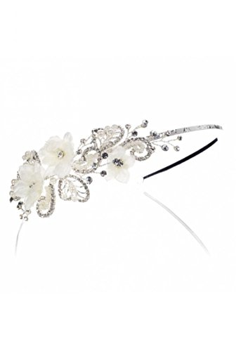 Tiare parée de fleurs en tissu avec cœur et pétales strass Blanc cassé