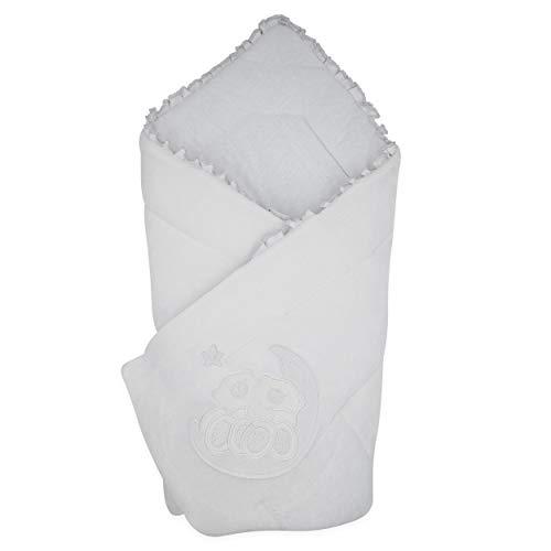 BlueberryShop Wickeldecke   Veloursdecke   Schlafsack für Neugeborene   Für Kinder von 0 bis 3 Monaten   Perfekt als Geschenk für Baby Shower   78 x 78 cm   Weiß