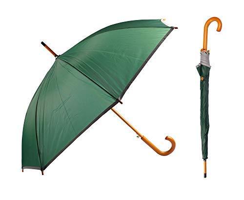 BURI Regenschirm mit Holzgriff Automatik Stockschirm Stützschirm Sonnenschirm Schirm, Farbe:grün