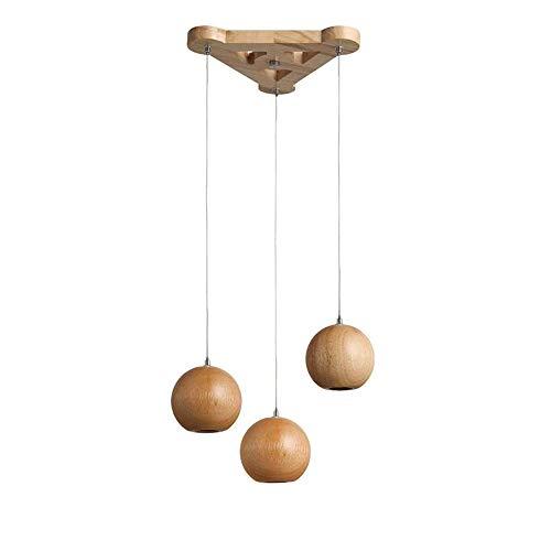 LED Modern Pendelleuchte Holz Kugel Kunst Hängeleuchte Cafe Bar Esszimmer Dekoration Hängelampe 3 * 3W G4 Wohnzimmer Küche Warm Licht Pendellampe 3-Flammig