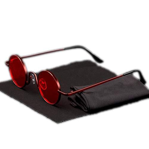 Vintage Rap Sonnenbrille für Herren und Damen, Steam-Punk-Stil, Hip-Hop-Stil, klein, runder Metallrahmen, Brillenputz, Retro-Stil, ohne Etui Gr. Einheitsgröße, N5 Red Red