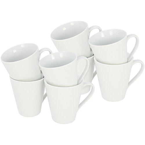 COM-FOUR 8x Kaffeebecher aus Porzellan, 250 ml, Kaffeetasse, Kaffeepott, in weiß, konische Form (08 Stück)