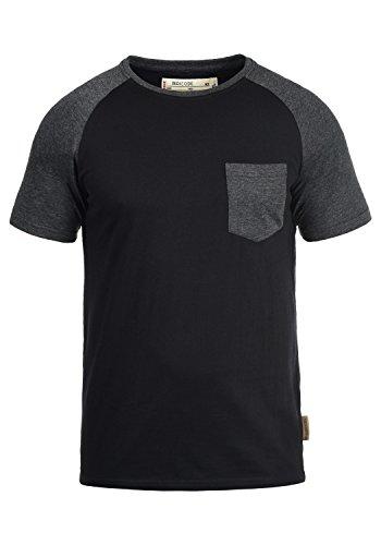INDICODE Gresham T-Shirt, Größe:L;Farbe:Black - Charcoal (9992) (V-ausschnitt Baseball Tee)
