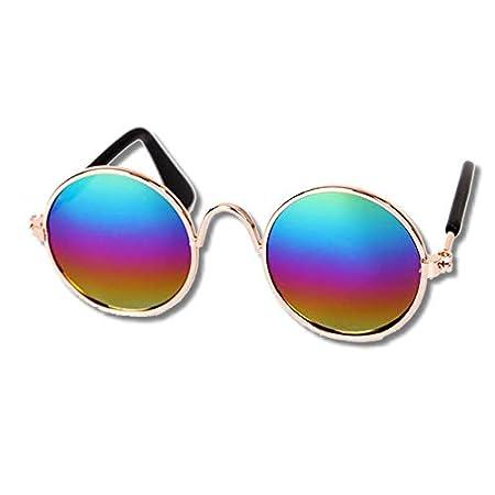 EROSPA® Sonnenbrille Hunde Welpen Katze – Metallrahmen Bronze – Gläser Verspiegelt Multicolor – 8 cm