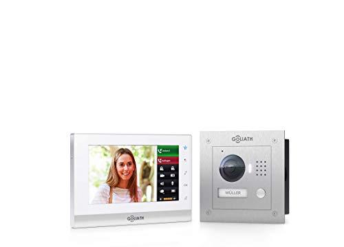 Goliath IP Video-Türsprechanlage mit Kamera, Unterputz HD Türstation 150°, Edelstahl, App mit Türöffner Funktion, 7 Zoll Touchscreen, 32GB Video-Speicher, 1 Familienhaus Set -