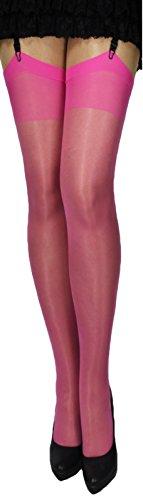 Kostüm Einfach Zeitraum - 2 Paar klassische Strapsstrümpfe mit Lycra leicht glänzend Farben zum Anstrapsen Strapse Strümpfe 18-20 den (rosa-pink)
