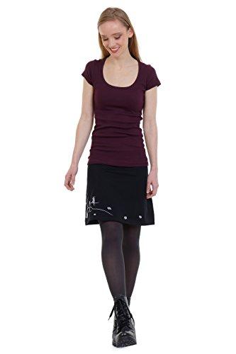 Elfen-Rock Sommer Damen Knielang alinie Jersey-Rock schwarz Print Blumen Wind Elfe einfach schlicht grau M -