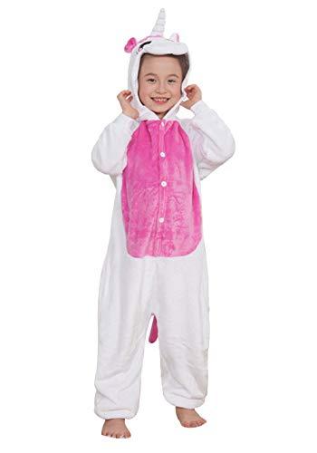 DATO Kinder Pyjamas Tier Rose Rot Einhorn Overall Flanell Cosplay Kostüm Kigurumi Jumpsuit für Mädchen und Jungen Hohe 90-148 cm