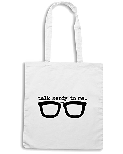 T-Shirtshock - Borsa Shopping TR0131 Talk Nerdy To Me 25mm 1 Pin Badge Button School Geek Glasses Retro Vintage Fun Bianco