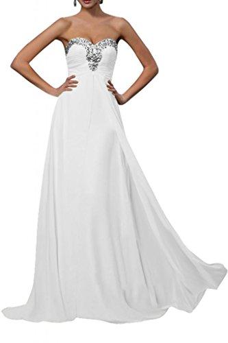 Gorgeous Bride Fashion Herz-Ausschnitt Empire Chiffon Lang Abendkleid Brautjungfernkleid Ballkleid Weiß