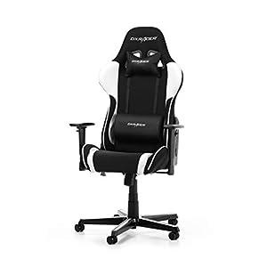 DXRacer (das Original) Formula F11 Gaming Chair für High End PC/PS4/XBOX/Nintendo, ergonomischer Schreibtischstuhl fürs Büro mit Stoffbezug, Schwarz-Weiß