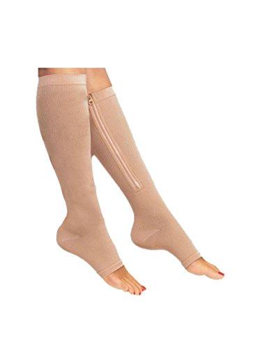 sourcingmap® 1 Paar Unisex Reißverschluss Knie Hoch Knöchel Kein Zehe Kompression Socke
