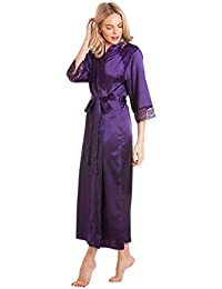 328924c131b2 Ladies Stunning Satin Long Dressing Gown imono Robe Wrap lace Details Plus  Size 10 12 14