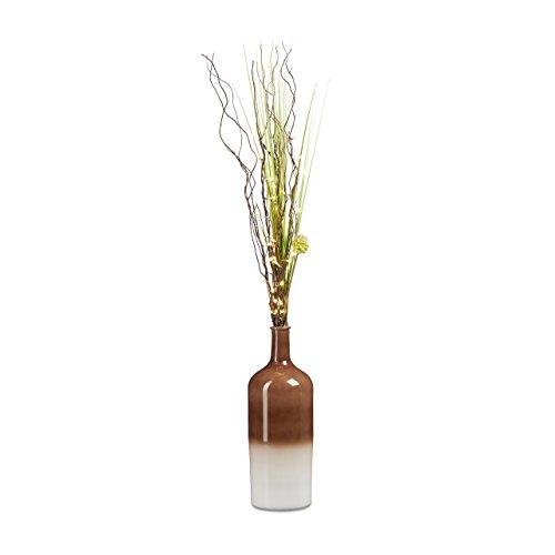 Relaxdays Deko Vase XL im angesagten Retro-Design, Bodenvase 46 cm, mit typischem Farbverlauf, in Flaschenform, HBT: 46 x 15,5 x 15,5 cm, braun / weiß