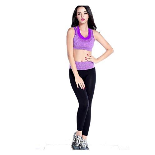Frauen Gym Laufgeschwindigkeit Trocken Schweiß Fitness Kleidung Anzüge Yoga Kleidung Outdoor Sports Anzug Zwei SetsGAOXP (Farbe : Lila, Größe : S)