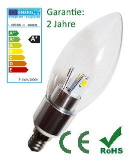 Krenn LED Vela k3lg, 3W, E14, 300lúmenes, luz blanca cálida