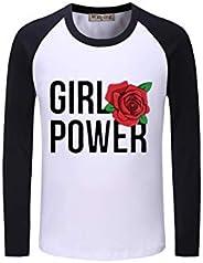 Manga Larga Camiseta Girl Power Rose Transpirable Ocio Camiseta de Tendencia T cómodo Camisa de impresión Prec