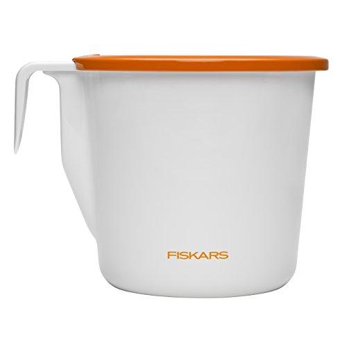 Fiskars Kräutertopf mit Bewässerungssystem, Größe S, Durchmesser: 9 cm, Weiß/Orange, Indoor Gardening, 1003651