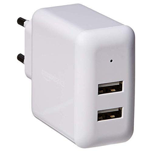 amazonbasics - caricabatterie da parete a 2 porte usb (2,4 a) - bianco