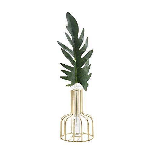 C-J-Xin Gold Kreative Vase, Hauptdekoration Desktop Schlafzimmer Esstisch Vasen Eisen Kunst Glas Blumen Vasen 15,5-18 cm Dekor Vasen (Size : 10 * 15.5CM) (Blumen Vase Mit Hocker)